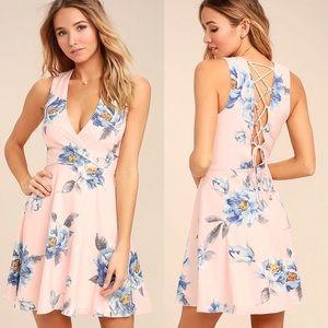 Lulu's | Garden Walk Lace Up Skater Dress